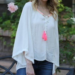 COPY - 4/WIDE SLEEVE TOP W/ NEON STITCHING AND TASSEL
